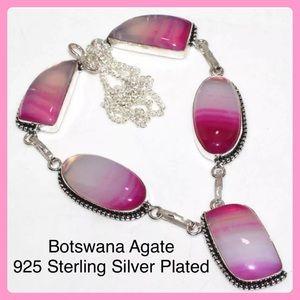 Pink Botswana Agate Silver Handmade Bib Statement